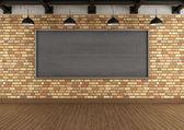 Empty loft with large blackboard squared — Stock Photo