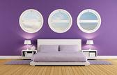Purple bedroom — Stock Photo