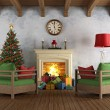 Vintage christams living room — Stock Photo