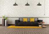 Modern lounge with brown sofa — Stock Photo