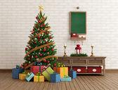 Vintage Christmas interior — Stock Photo