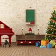 Vintage christams room with red grand-piano — Stock Photo