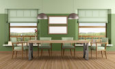 Groene eetkamer — Stockfoto
