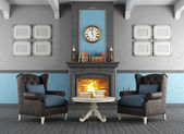 Classic interior with fireplace — Stockfoto