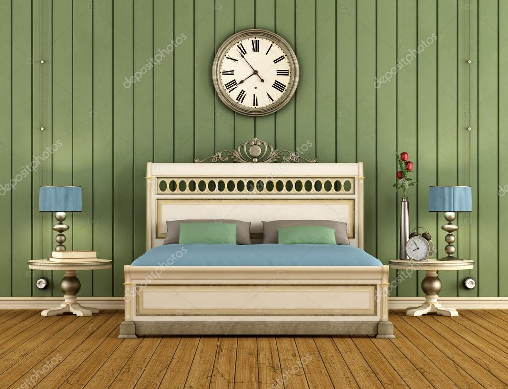 Vintage sovrum med grön vägg paneler — stockfotografi ...