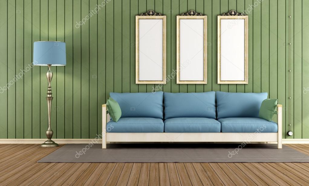Groene Muren Woonkamer : Vintage groene kamer ? stockfoto ...