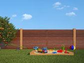 Garden with children's playground — Photo
