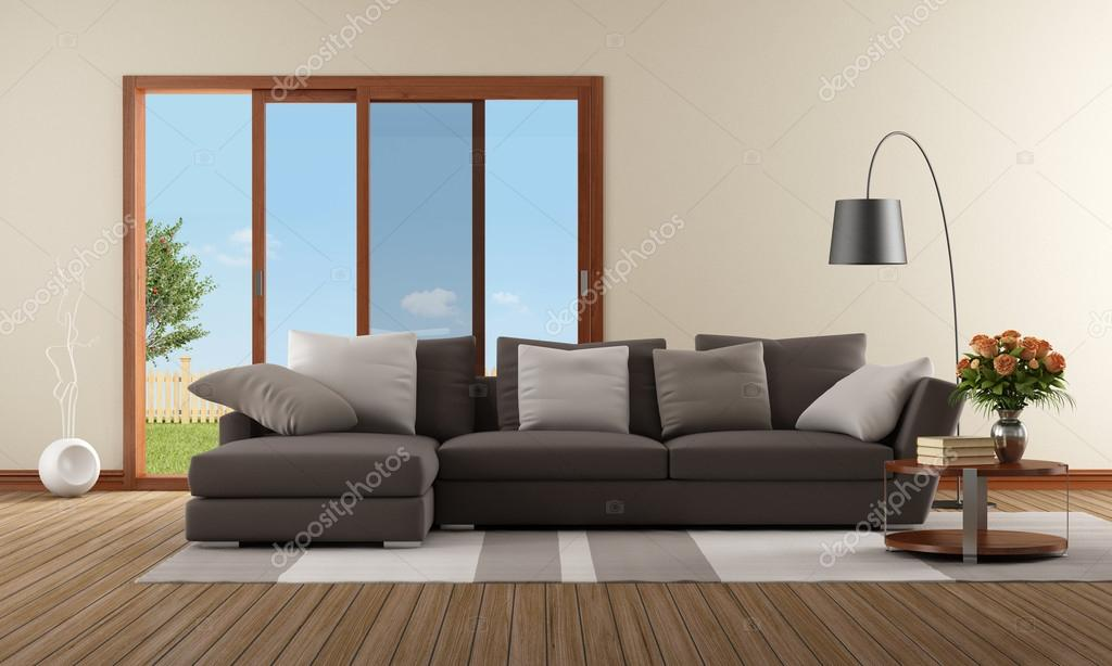 Soggiorno moderno con divano marrone foto stock for Soggiorno con divano