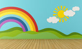 Empty Playroom with rainbow and green hills — Stock Photo