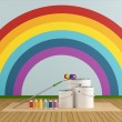 Select color swatch to paint wall with rainbow colors — 图库照片