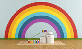 Select color swatch to paint wall with rainbow colors — Stock Photo