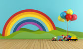 Empty Playroom with rainbow and toys — Stock Photo