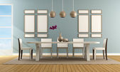 Contemporary blue dining room  — Stock Photo