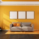 Modern living room with orange wall — Stock Photo