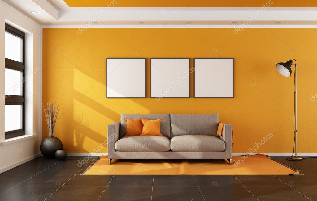 Sala De Estar En Naranja ~ Moderna sala de estar con la pared naranja — Foto de Stock #45572693