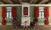 Classic room with christmas decoration — Stock Photo