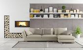 Moderne woonkamer met open haard — Stockfoto
