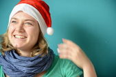 Happy laughing Woman with Santa Hat — Foto Stock