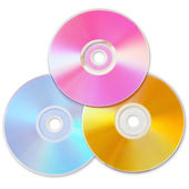 Three colored CD isolated on white background with shadow — Stock Photo