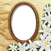 Cornice per una foto con gigli fiori — Foto Stock