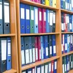 File folders, standing on the shelves — Stock Photo