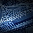 Patch panel of the 6th category closeup, blue tone — Stock Photo