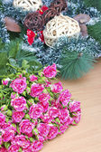 Bouquet of pink roses on a background decorations — Stock Photo