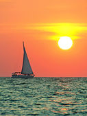 Boat trip at sunset — Stock Photo