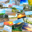 Collage of many pictures lying in a heap - Stock Photo