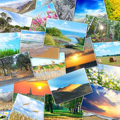Collage of many pictures lying in a heap — Stock Photo