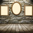 Picture frames on a stone grange background — Stockfoto