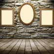Picture frames on a stone grange background - Stock Photo