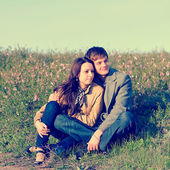 Outdoor Portrait of young couple — Stock Photo