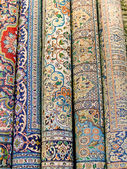 Indian carpets are rolled into coils — Stock Photo