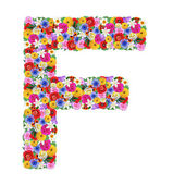 F, letter of the alphabet in different flowers — Stock Photo