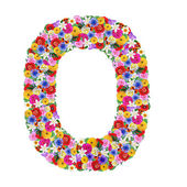 O, letter of the alphabet in different flowers — Stock Photo