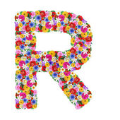 R, letter of the alphabet in different flowers — Stock Photo