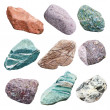 Stock Photo: Set of nine minerals