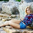 Young beautiful sensual blonde girl outdoors — Stock Photo #27189521