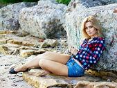 Young beautiful sensual blonde girl outdoors — Stock Photo