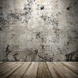 Stock Photo: Concrete wall and wooden floor in grunge style