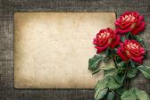 Karte für die einladung oder glückwunsch mit roten rosen — Stockfoto