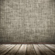 Cloth wall and wooden floor in a grunge style — Stock Photo