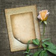 Card for invitation or congratulation with yellow rose  — Stock Photo