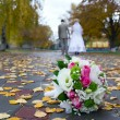 Bridal bouquet close up and blurred newlyweds — Stock Photo #33741197