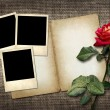 Polaroid-style photo on a linen background with red rose — Stock Photo