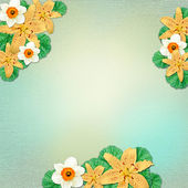 Vintage summer background with flowers and leaves — Stok fotoğraf
