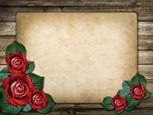 招待状や赤いバラとお祝いカード — ストック写真