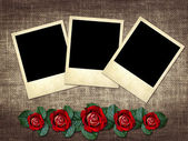 Polaroid-stil foto auf leinen hintergrund mit roter rose — Stockfoto