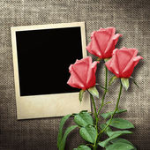 Polaroid-style photo on a linen background with red roses — Stock Photo